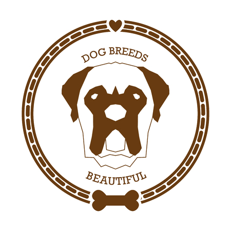 bull mastiff: Isolated sticker with a silhouette of a bull mastiff on a white background Illustration