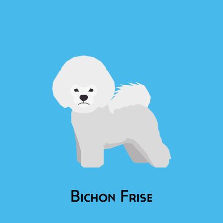 Isolated bichon frise dog on a blue background Illustration