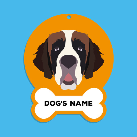 saint bernard: Isolated golden dog tag with text and an illustration of a dog breed