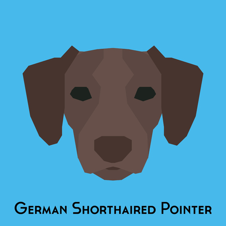 shorthaired: Isolated German Shorthaired Pointer on a blue background Illustration