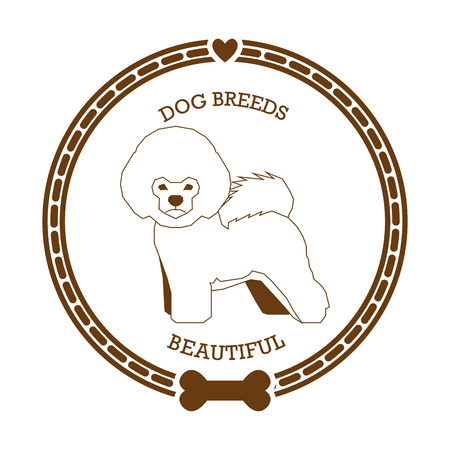 frise: Isolated sticker with a silhouette of a bichon frise dog on a white background