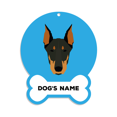 pinscher: Isolated blue dog tag with text and an illustration of a dog breed Illustration