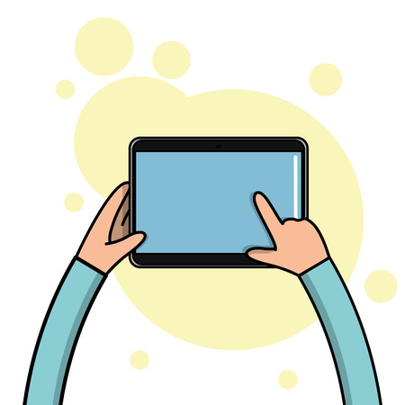 body parts cell phone: A pair of children hands holding a tablet, Vector illustration