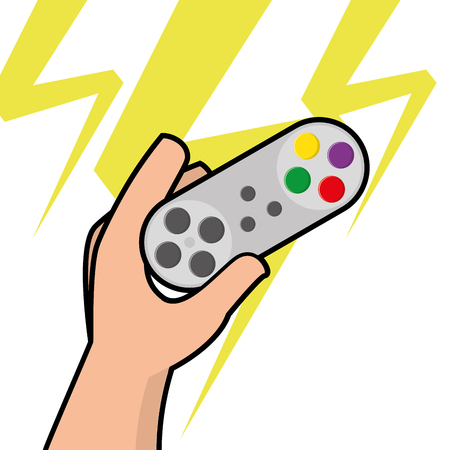 Isolated joystick being held by a hand, Vector illustration