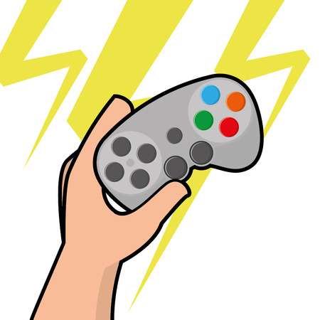 portable console: Isolated joystick being held by a hand, Vector illustration