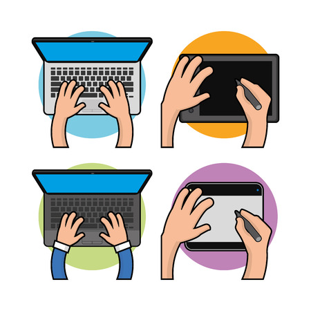 computer keyboard: Set of different devices on white background, Vector illustration Illustration