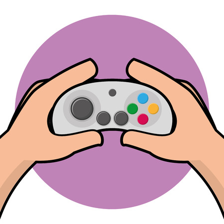 portable console: Pair of hands holding a joystick, Vector illustration