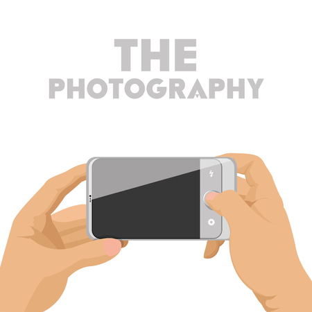 cellphone in hand: Isolated cellphone with a camera app, Vector illustration