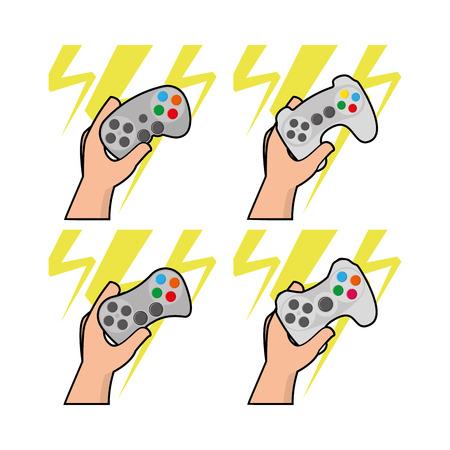 portable console: Set of different joysticks on white background, Vector illustration