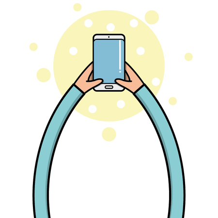 body parts cell phone: A pair of children hands holding a cellphone, Vector illustration