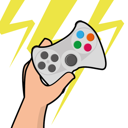 held: Isolated joystick being held by a hand, Vector illustration