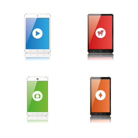 cellphones: Set of cellphones with different app icons, Vector illustration