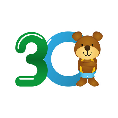 Isolated typography of a number with a teddy bear for kids, Vector illustration