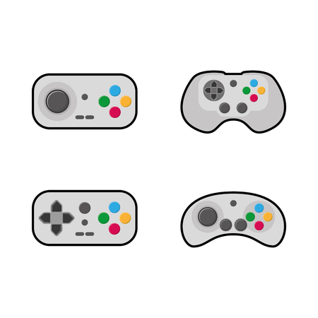 portable console: Set of joysticks on a white background, Vector illustration Illustration