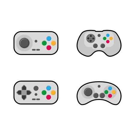 portable console: Set of joysticks on a white background, Vector illustration Illustration