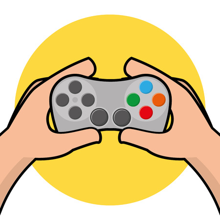 Pair of hands holding a joystick, Vector illustration