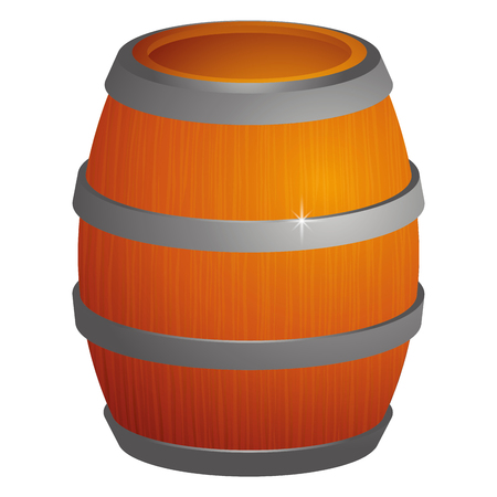beers: Isolated wooden barrel on a white background, Vector illustration