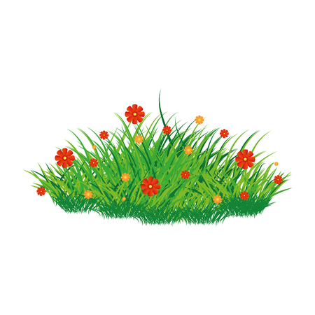 Isolated scrub whit flowers on a white background, vector illustration