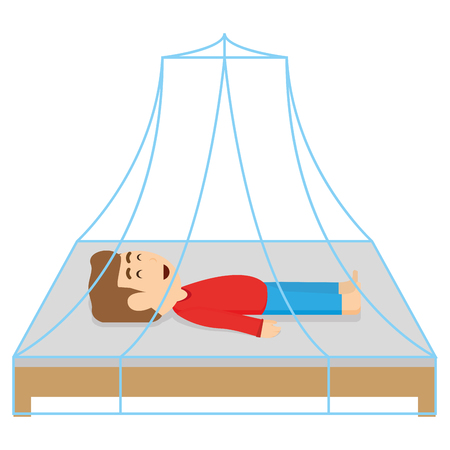 Isolated boy sleeping on a bed, Vector illustration Ilustracja