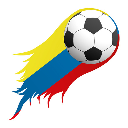Isolated soccer ball with the colombian flag, Vector illustration