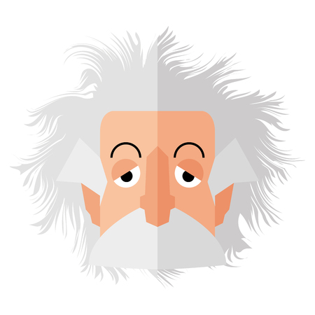 Isolated Einstein character on a white background, Vector illustration Vectores