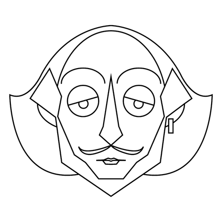 Isolated outline of Shakespeare character, Vector illustration