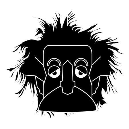 Isolated silhouette of an Einstein character, Vector illustration