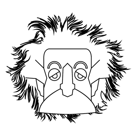 Isolated outline of Einstein character, Vector illustration
