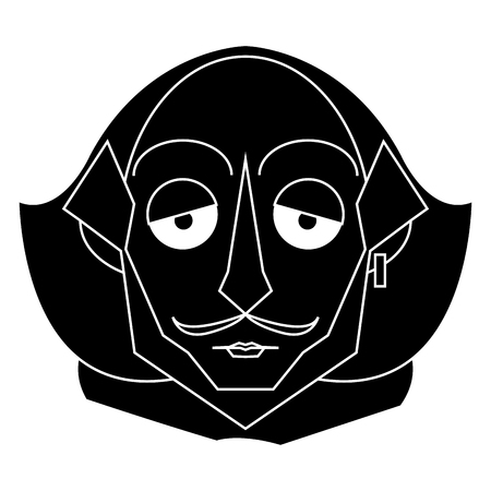 Isolated silhouette of a Shakespeare silhouette, Vector illustration Illustration