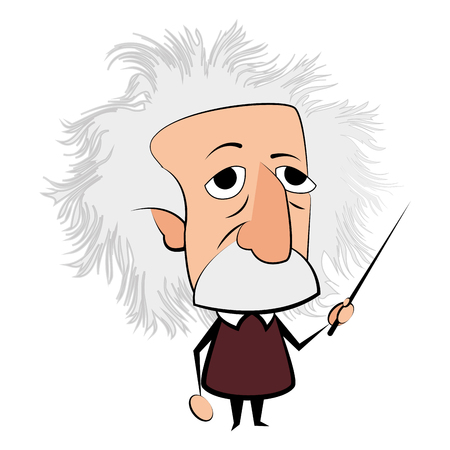 Isolated Einstein character on a white background, Vector illustration Çizim