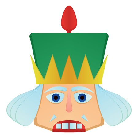 Isolated nutcracker soldier face on a white backdrop illustration.