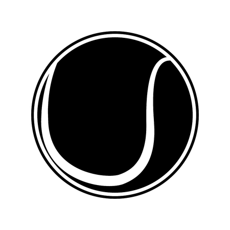 Isolated tennis ball silhouette on a white background, vector illustration