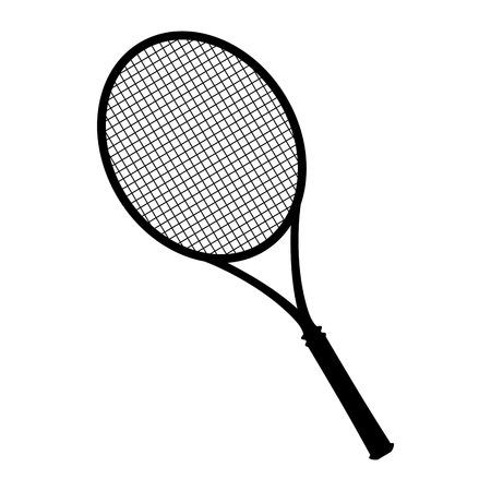 Geïsoleerde tennis racket silhouet op een witte achtergrond, vectorillustratie Stock Illustratie