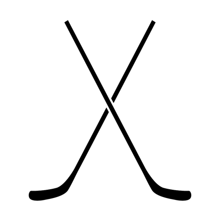 Pair of hockey sticks on a white backdrop, design. Vettoriali