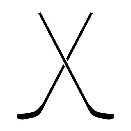 hockey goal: Pair of hockey sticks on a white backdrop, design. Illustration