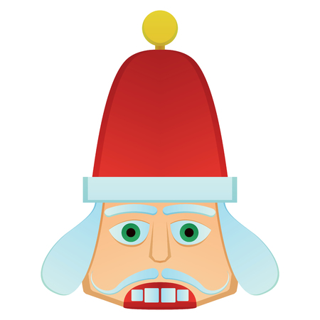 Nutcracker soldier face on a white backdrop, design.