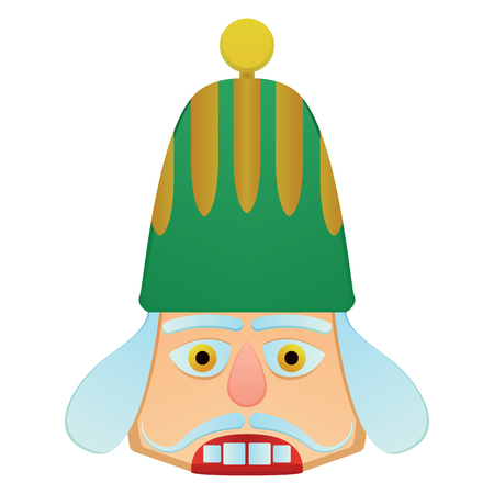 christmas military: Isolated nutcracker soldier face on a white background, vector vector illustration