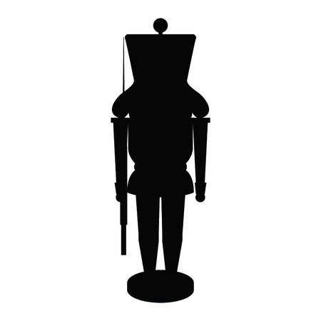 Isolated nutcracker soldier silhouette on a white background, vector illustration
