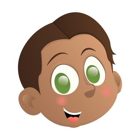 Happy boy avatar on a white backdrop, design.