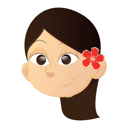 Isolated avatar of a happy asian girl with a flower on a white background, vector illustration