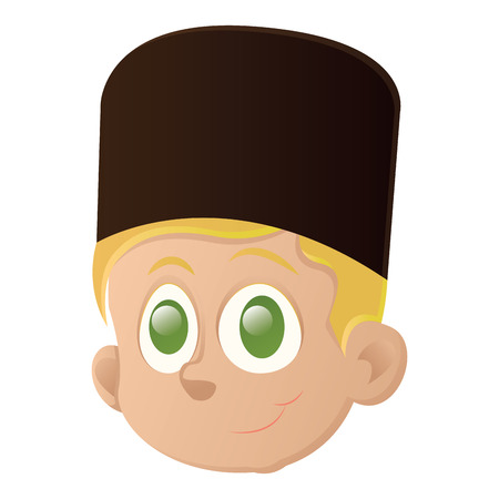 Avatar of a happy kid with green eyes on a white backdrop, design.