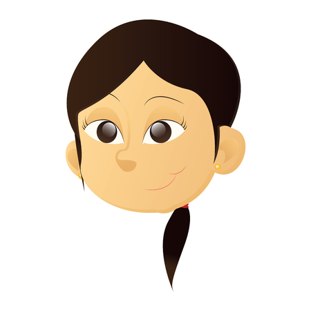 Isolated avatar of a happy asian girl with black eyes on a white background, vector illustration