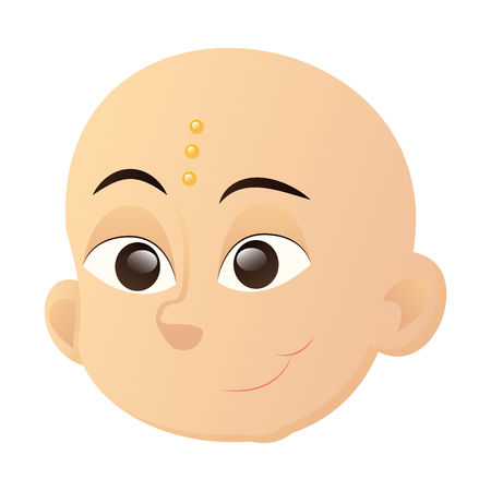 Isolated avatar of a happy indian boy with black eyes on a white background, vector illustration Vettoriali