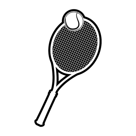 Isolated racket and tennis ball on a white background, vector illustration Ilustração