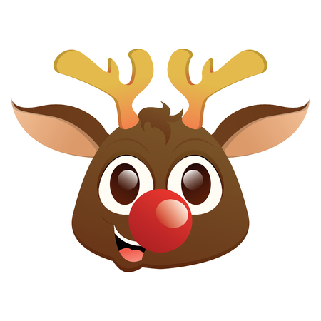 Isolated beautiful reindeer avatar on a white background, vector illustration Vettoriali