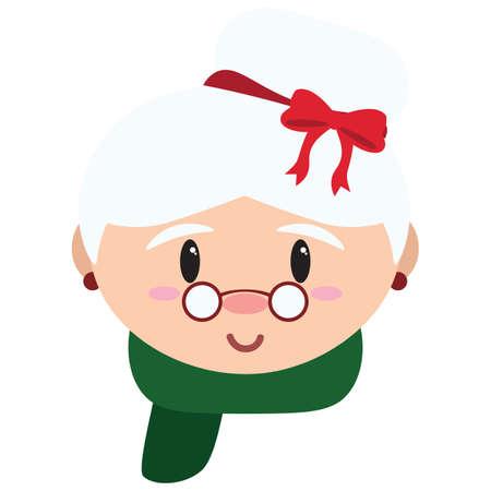 isolated Cartoon cute mrs claus christmas - Vector