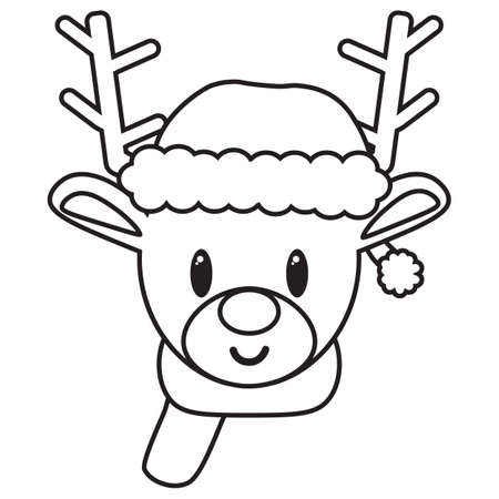 isolated Cartoon Draw Balck And White cute reeindeer - Vector 일러스트