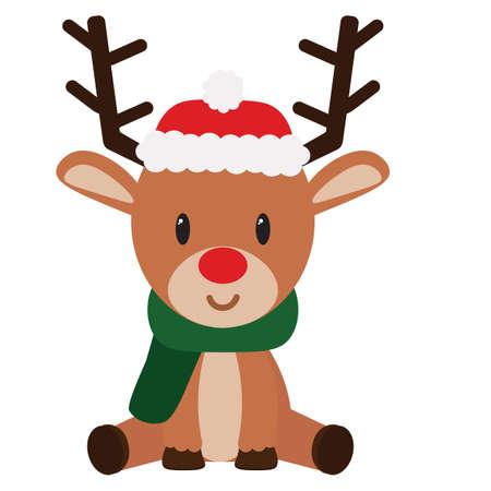 isolated Cartoon cute reindeer sit christmas- Vector