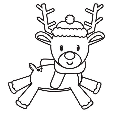 cartoon cute draw reindeer walking christmas- Vector 일러스트