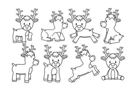 Isolated Set cartoon cute draw simply reindeer christmas- Vector 일러스트